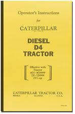 Caterpillar Diesel D4 Tractor Operators Instructions Manual