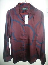 Ralph Lauren Ladies Burgundy Equestrian Pattern Long Sleeve Blouse New Size M