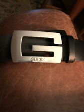 Black Leather G Guess Belt Size Marked 35  Up To 40""