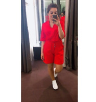 Karen Millen Rouge à Lèvre Court Fluide Cordon Combishort Mini Robe Soirée UK 10