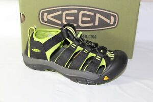 KEEN NEWPORT H2 YOUTH SANDAL, SIZE 3Y, BLACK/LIME GREEN, 1009965