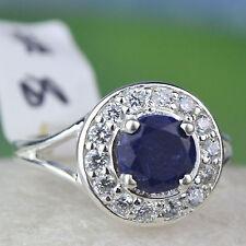 925 Sterling Silver Blue Sapphire & White Topaz gemstone Ring Size 8 US 4.28 g