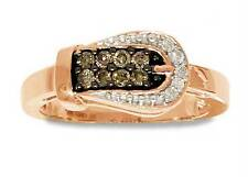 Chocolate Brown & White Diamond Belt Buckle Ring 10K Rose Gold Band .24ct