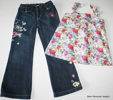 BABY GAP Garden Child Floral Embroidered  Jeans Swing Top Set Girl Sz 5 Worn 1X
