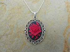 RED ROSE CAMEO NECKLACE - (RED ROSE ON BLACK) .925 SILVER PLATED - QUALITY