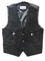 Minnetonka Genuine Leather Suede Fringe Sleeveless Vest Small S Black Concho