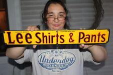 Lee Shirts Pants Overalls Blue Jeans Clothes Store Gas Oil Porcelain Metal Sign