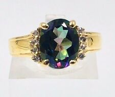 14k Gold Ring w/ Oval Green Mystic Topaz & 8 Round Brilliant Diamonds