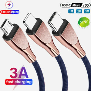 3A Fast Charging Cable Micro USB Type C Data Cord For iPhone 12 Pro 11 SE 1M-3M