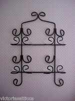 Vintage Sturdy Black Wrought Iron Wall Rack for 4 Collectible Pictures or Plates