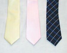 3x Mens Skinny/Slim Tie 6cm ROSÉ PINK Dots/YELLOW/PLAID CHECK BLUE Joblot -NEW