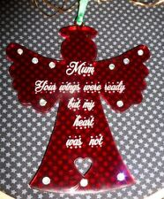 Personalised  In Memory - Dad, Mum, loved one RED ANGEL Christmas Decoration