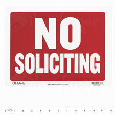 No Soliciting Sign Door Signs Store Office Shop Redwhite 9x12 Inch Pvc