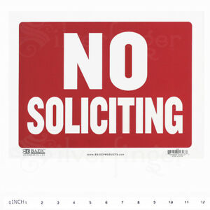 """NO SOLICITING Sign • Door Signs Store Office Shop — Red+White 9x12"""" inch PVC"""