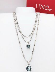 NEW Authentic UNO de 50 Stars' Rain Blue Crystals Layer Chain Necklace