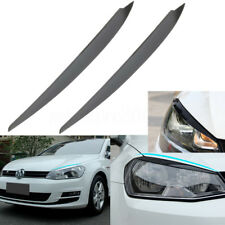 Black Headlight Eyebrow Eyelids Cover Trim Kit Decor For VW Golf 7 VII GTI R MK7