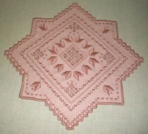 NORWEGIAN HARDANGER EMBROIDERED DOILY 11.25 INCH MAUVE PINK