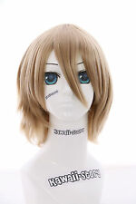 W-10-22 rubio rubio corto Death Note Light Yagami 33cm cosplay peluca Wig anime