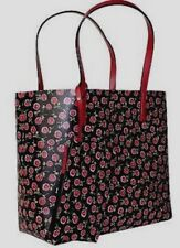 New Kate Spade Mya Arch Place Reversible Tote with Pouch Floral Black Red multi