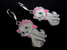 A PAIR OF DANGLY ENAMEL PINK/WHITE CAT LEVERBACK HOOK EARRINGS. NEW.