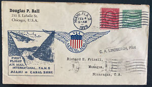 1929 Miami FL USA First Flight Airmail Cover FFC To Managua Nicaragua FAM 5