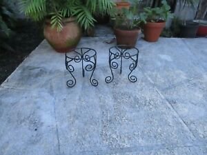 """PAIR BLACK IRON SCROLLED DETAILED PLANT HOLDERS 6"""" POT"""