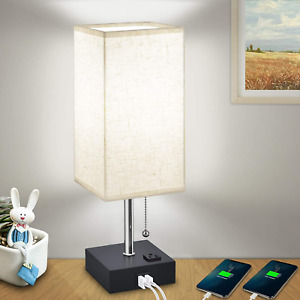 USB Bedside Table Lamps for Bedroom Daylight,Modern Nightstand Lamp with Chargin
