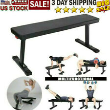 Sit Up Bench Flat Weight Bench with Sewn Vinyl Seats Home Workout Fitness Gym B2