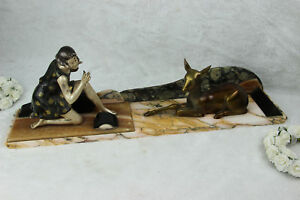 ART DECO 1930 french lady deer statue marble onyx base metal bronze patina