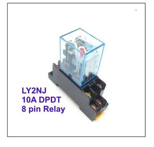 240V AC 8 Pin Relay and Socket Base Included , 10A DPDT LY2NJ 0601