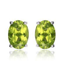 Green peridot oval cut silver stud earrings
