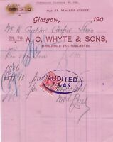 A. C. WHYTE & SONS, Vincent Street, Glasgow 1906 Paid Stamp Invoice Ref 48374