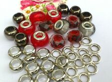 35 Red crystal & Decco  & Glitter spacers & alloy Rondelle Mix 8-14mm *new *