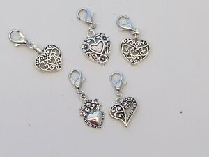 5 Stitch Markers ASSORTED HEARTS. Knitting,Crochet, Charms,Crafts etc
