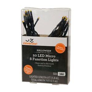 Halloween Orange LED Micro 8 Function Indoor Outdoor Lights Set Way to Celebrate