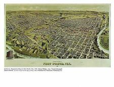 """1976 Vintage CITY """"FORT WORTH TEXAS PERSPECTIVE MAP (1891)"""" Color Art Lithograph"""