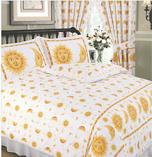 BRIGHT & COLOURFUL YELLOW & WHITE SUN & MOON DUVET COVER BED SET OR CURTAINS