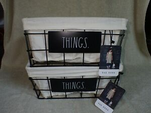 2 Rae Dunn THINGS Black Wire Fabric Lined Baskets NEW