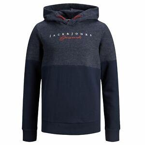 Jack and Jones Boys Hoodies Age 8-10 Kids Pullover Logo Print Navy Sweatshirt