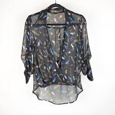 Lovestitch Size Small Blouse Shirt V Neck Faux Wrap Style Feather Boho Black