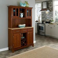 Hutch Buffet China Cabinet Kitchen Storage Pantry Wood Cupboard Wine Rack Cherry