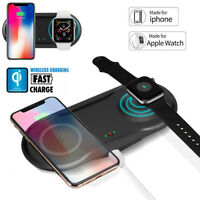 Qi 2 in 1 Wireless Charger Fast Charging Dock Pad For Apple Watch iPhone 8 XR XS