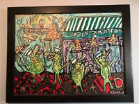 New Orleans Louisiana war art painting framed  alligators character art