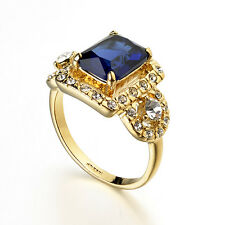 VINTAGE INSPIRED 18K GOLD PLATED GENUINE SAPPHIRE BLUE AUSTRIAN CRYSTAL/CZ RING