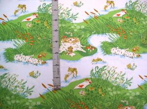 Windham Fabrics Heather Ross 20th Anniversary Blue Frog Pond Cotton Fabric