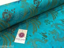 """CHINESE ORIENTAL GOLD DRAGON EMBROIDERED BROCADE SILKY DRESS FABRIC 44"""" M52"""