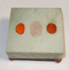 Old Chinese Carved Jade Rose Quartz Agate Stone Large Humidor Jar Box