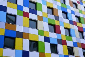 Leinwandbild Fassade Architektur Haus Bunt Color Farben Foto Design NEU 16isa