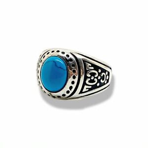 925 Silver Topaz Men's Signet Ring With Pattern Engravement LUXE