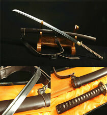 41' Damascus FOLDED STEEL Genuine leather JAPANESE SAMURAI KATANA FULL TANG